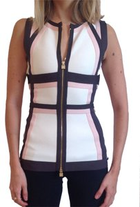 Herv Leger Top Ivory, soft pink, brown