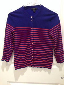 J.Crew Nautical Striped Orange Spring Cardigan