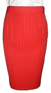 Escada Vintage Made In Germany 100% Wool Skirt Red striped with white and black