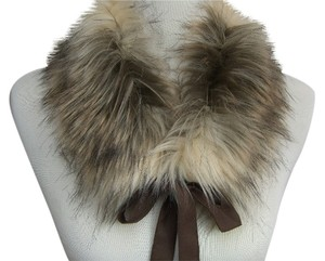 Faux Fur Collar, Scarflette With Satin Ties