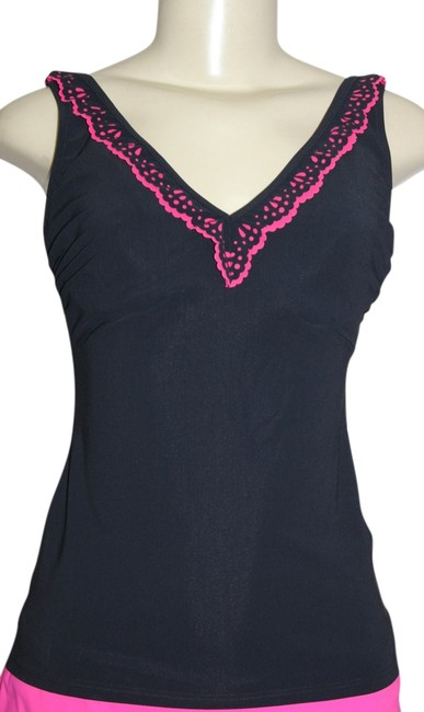 Gottex Gottex Wire Tankini Swimsuit Separate Top (34D) Black / Pink
