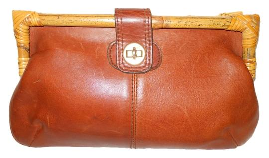 Other Vintage Leather Bamboo brown Clutch Image 0