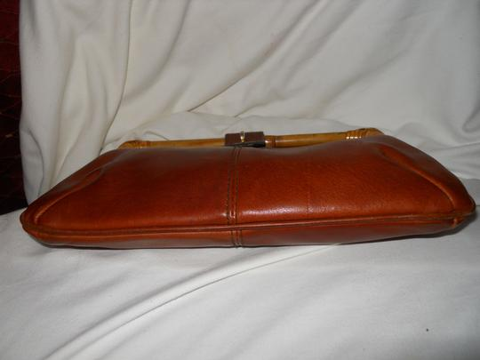 Other Vintage Leather Bamboo brown Clutch Image 6