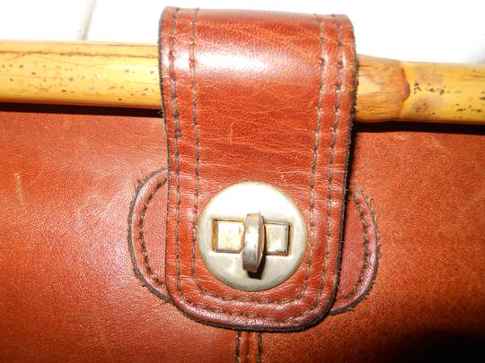 Other Vintage Leather Bamboo brown Clutch Image 8
