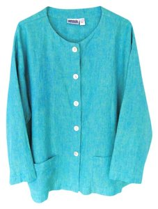 Chico's Beach Cover Up Linen Big Shirt Top Turquoise