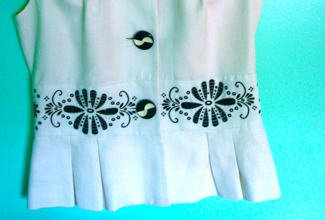 Anthropologie Embroidery Black Lined White Jacket