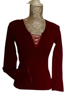 INC International Concepts Burgandy Ribbon Sweater