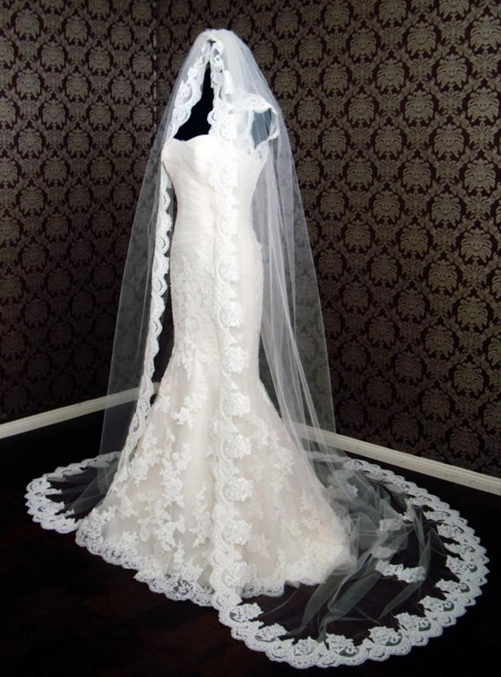 New High Quality Cathedral Length Lace Veil Floating Lace Edge Petal Veil Beaded Lace Bridal
