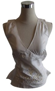 Anthropologie Top Cream/embroidery