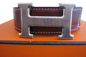 Hermès 32/78CM CLEARANCE SALE AUTH. Hermes Reversible Belt Kit Silver Buckle