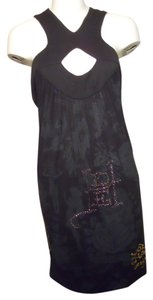Ed Hardy short dress black & dark green Rhinestone on Tradesy