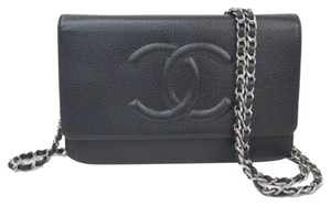 Chanel CHANEL Caviar Wallet on a Chain (WOC) Black with Silver Chain Hardware Cross Body With Box, Authenticity Card And Dust Bag