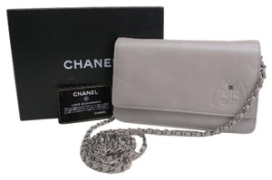 Chanel CHANEL Wallet on Chain WOC Jacket Motif Calfskin Leather Silver Chain Hardware Cross Body With Box And Authenticity Card