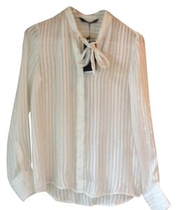 Zara Silver Shimmery Button Down Top white