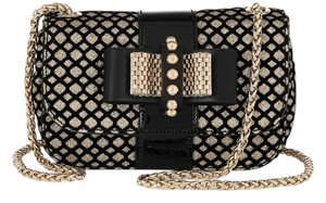 Christian Louboutin Black & Gold Sweety Charity Mini Glitter-Finished Leather Shoulder Bag
