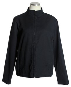 Eileen Fisher Full-zip Front Textured Black Jacket