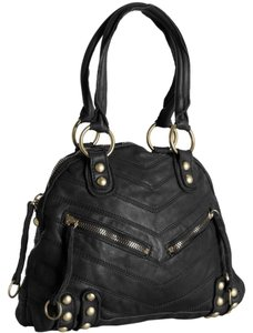 Linea Pelle Leather Dylan Hobo Satchel in Black