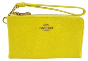 Coach Leather Wristlet in Yellow