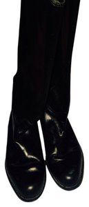 Ann Taylor Riding Leather Low Heel Black Boots