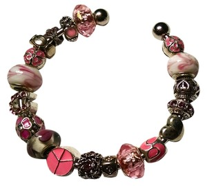 Other New European Charm Bracelet + 19 Charms Murano Glass Pink Silver J1348