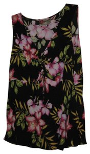 The Hawaiian Top Black with multi color flowers