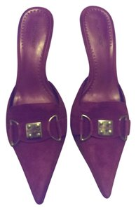 BCBGeneration Pink Suede Comfortable Silver Silver Hardware magenta Mules