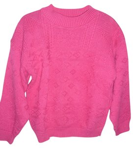 Max and Diane Mock Turtleneck Retro Vintage Pink Chunky Sweater