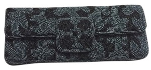 Neiman Marcus Black And Grey Clutch