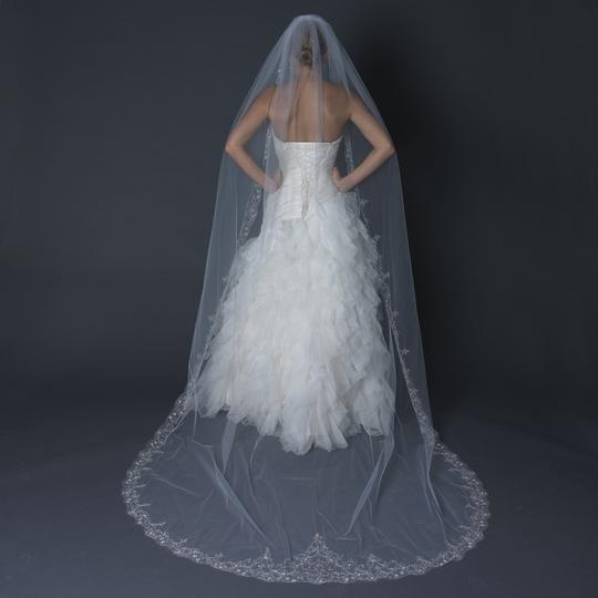 Elegance By Carbonneau White Regal Cathedral Length Wedding Veil