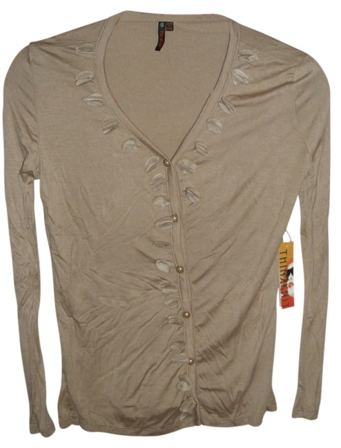 Thinkknit Office Long Sleeve Stretch Floral Button Down Shirt beige