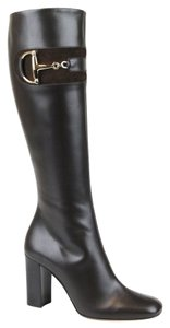 Gucci Leather Heel Knee Brown Boots