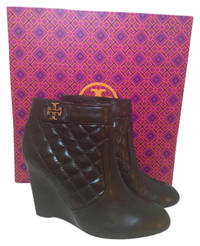 f2c02dea3 Tory Burch Brown (Coconut) Leila Quilted Wedge Boots Booties Size US ...