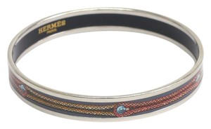 Hermès Auth HERMES Enamel Bangle Cloisonne/Palladium Silver/Gray/Red/Yellow (BF074938)