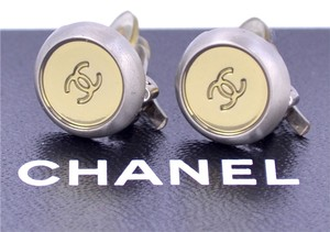Chanel CHANEL Mini CC Logos Round Earrings Silver & Gold Clips Vintage 99A w/BOX