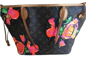 Louis Vuitton Tote in LV Print With Hot Pink Roses