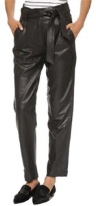 Just Female Leather Capri/Cropped Pants Black