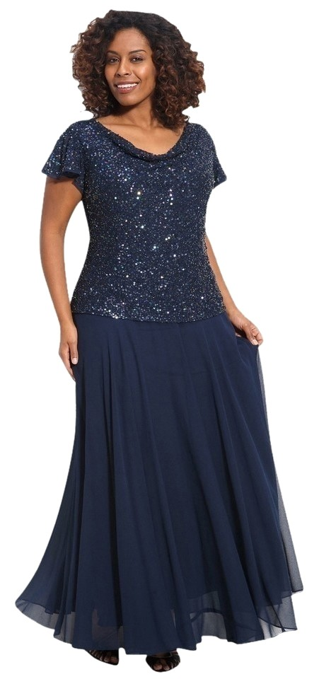JKara Navy Sequin Mother Of The Bride Long Formal Dress Size 22 (Plus 2x)  36% off retail