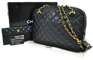 Chanel Quilted Cc Logo Chain Leather Vintage Box Shoulder Bag