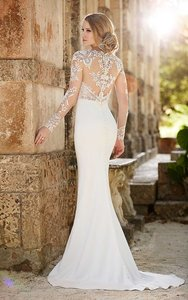 Martina Liana Ivory Silk / Lace Style 690sm Modern Wedding Dress Size 10 (M)
