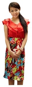 Shabby Apple short dress Orange/Red Silk Colorful Floral Red Orange Cute Summer Spring Fall on Tradesy