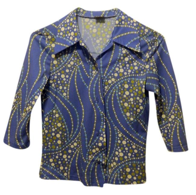 Preload https://img-static.tradesy.com/item/726714/bridal-styles-boutique-blue-retro-funky-70s-60s-vintage-button-work-office-professional-layer-shirt-0-0-650-650.jpg