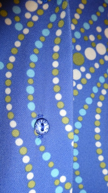 Bridal Styles Boutique Retro Funky 70s 60s Vintage Button Work Office Professional Layer Shirt Fun Dots Polka Dot Cute Button Down Shirt Blue