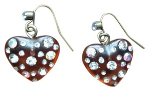 Betseyville by Betsey Johnson BETSEYVILLE BETSEY JONSON Hearts earrings rhinestones NEW TAN WEDDING