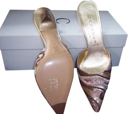 Caside shades of brown sequins Mules
