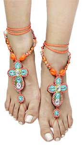 Boho Tribal Chic Multicolor Turquoise Barefoot Sandal Anklet With Crystal Accent