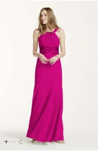David's Bridal Pink Chiffon And Charmeuse Dress With Rounded Neckline Dress