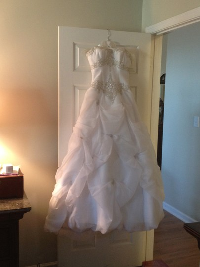 Private Label by G White with Silver Embroidery and Crystal Poly Formal Wedding Dress Size 6 (S)