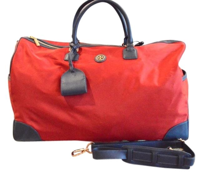 Item - Duffle Robinson Leather Trim Red Nylon Weekend/Travel Bag