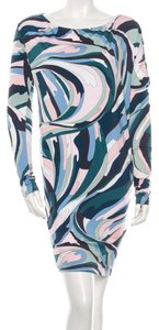 Emilio Pucci Multicolor Print Abstract Longsleeve New 6 40 S Small Sundress Dress