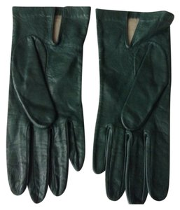 Italian lleather Dark green lambskin leather gloves